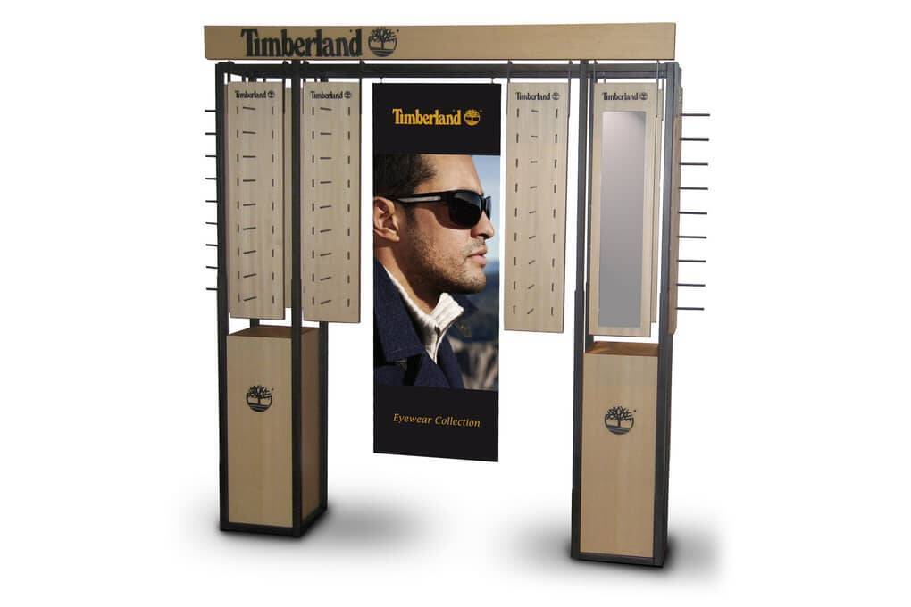 Floor standing display unit for Timberland glasses